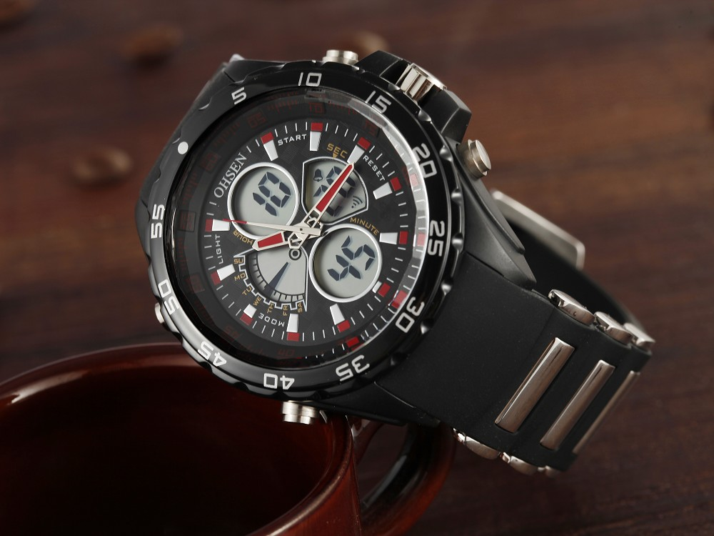 2in1 dual time thundershock sports watch