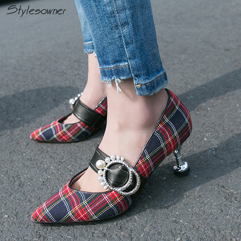 Stylesowner Mary Janes Cloth High Heels Pumps Strange Heels Pumps Plaid Top Quality Retro Women Shoes Pearl Buckle High Heels