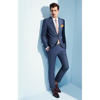 Custom Made New Style 2 Piece Business Mens Suits Wedding Groom Tuxedo Slim Groomsman Tailcoat Men Suits (Jacket+Pants) Z619