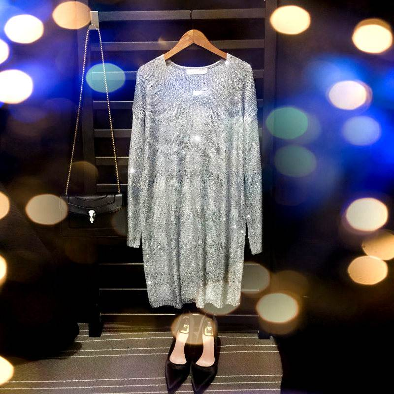 sequins dress v neck beading dress oversized sweater dress 2017 spring autumn sexy party fashion silver gold blue pink black