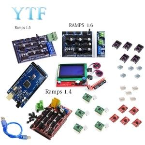 Image 1 - Mega 2560 R3 + 1Pcs RAMPS 1.4/1.5/1,6 Controller + 5Pcs A4988 Stepper Fahrer Modul/12864 LCD Control 3D Drucker Kit