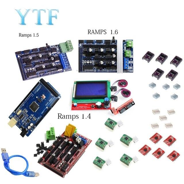 Mega 2560 R3 + 1Pcs RAMPS 1.4/1.5/1,6 Controller + 5Pcs A4988 Stepper Fahrer Modul/12864 LCD Control 3D Drucker Kit