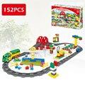152 unids ville de lujo tren de juguete tren de alta velocidad modelo de talla grande bloques de construcción ladrillos juguetes compatibles con lego duplo