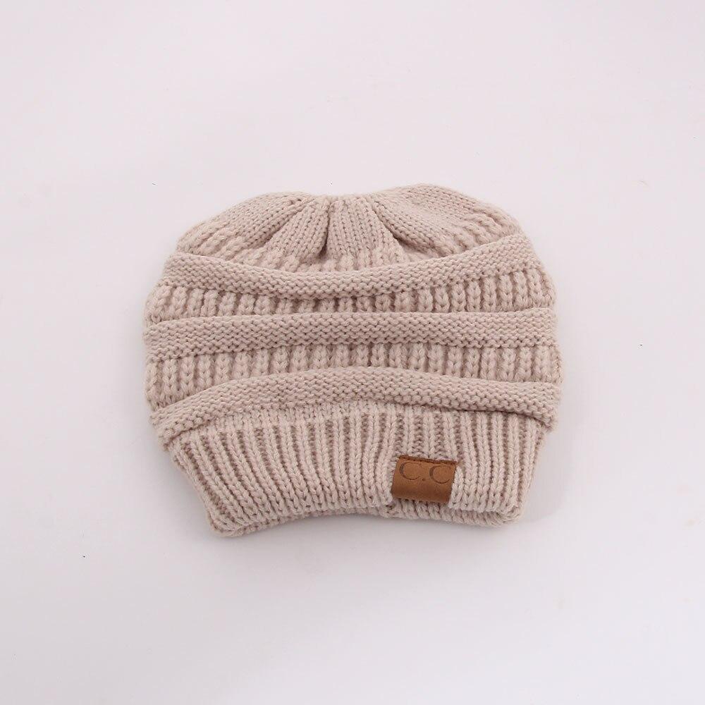 fd0629141f9 CC Fashion Ponytail Beanie Winter Hats For Women Crochet Knit Cap ...