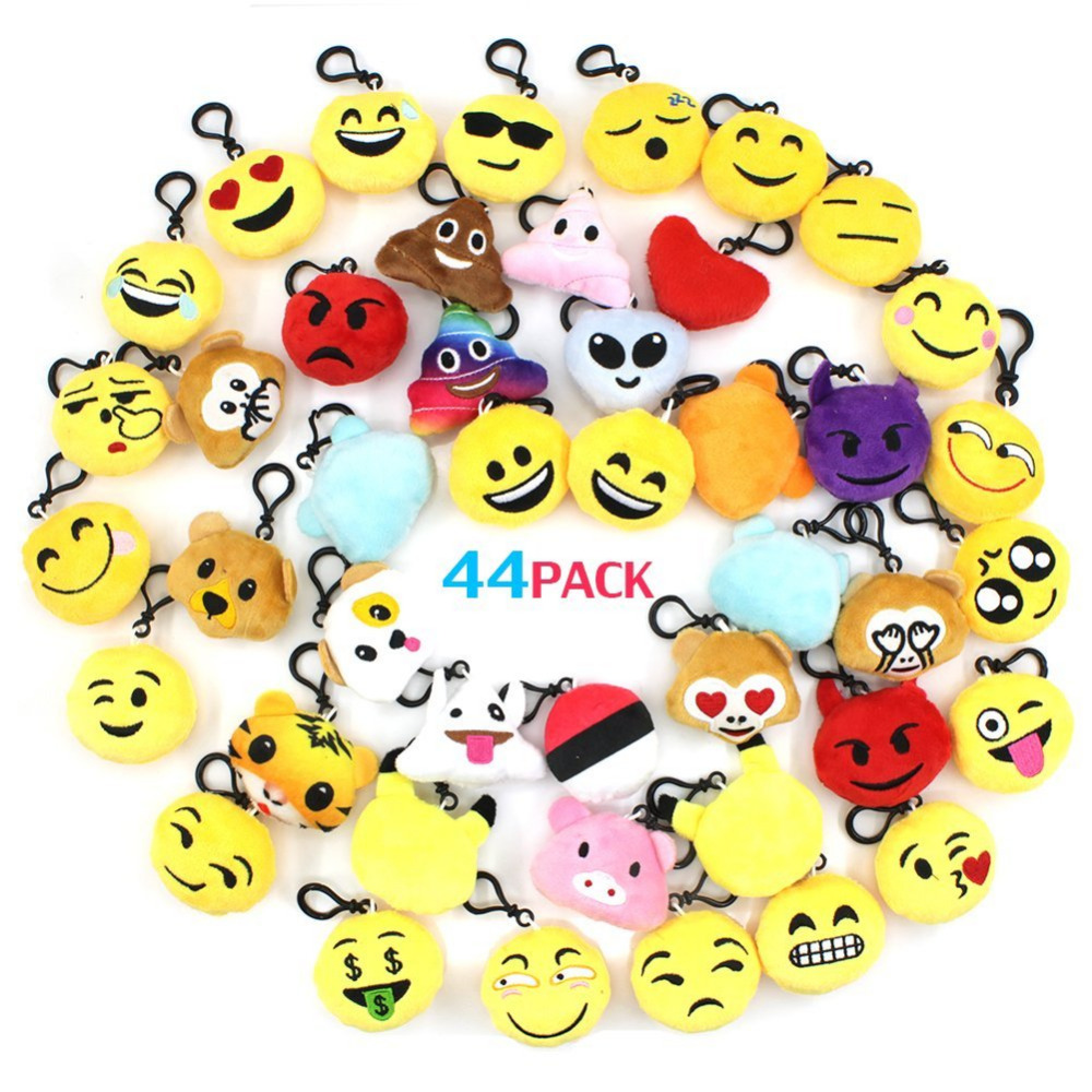 Emoji Keyrings 44 Pieces/Pack, Lovely Mini Plush KeyChains 2 inch for Kids Gift