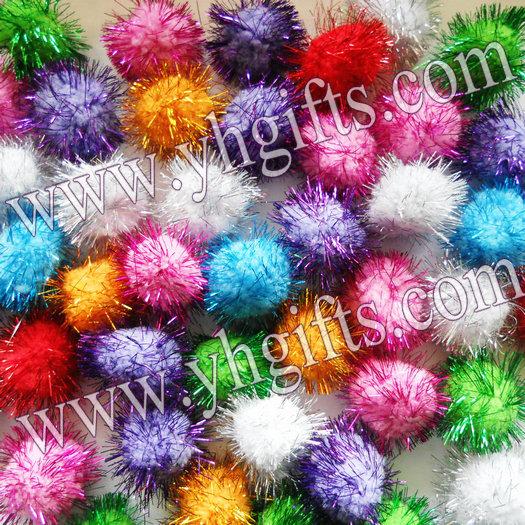 The Pom Pom Ornament Craft That Never Ends: 100PCS/LOT.4.5cm Glitter Pompom,Multicolor Pom Pom