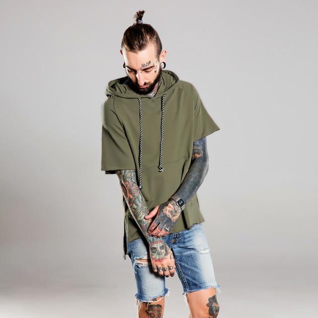 Brand clothes Men s Black Army Green Drawstring Short Sleeve Cotton Hoodie  Men Fashion Irregular Cut Design Hoodie Sweatshirt 963003f79