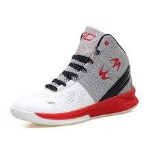 Men font b Basketball b font Shoe High Top Red Sneakers Basket Microfiber Leather Zapatillas Deportivas
