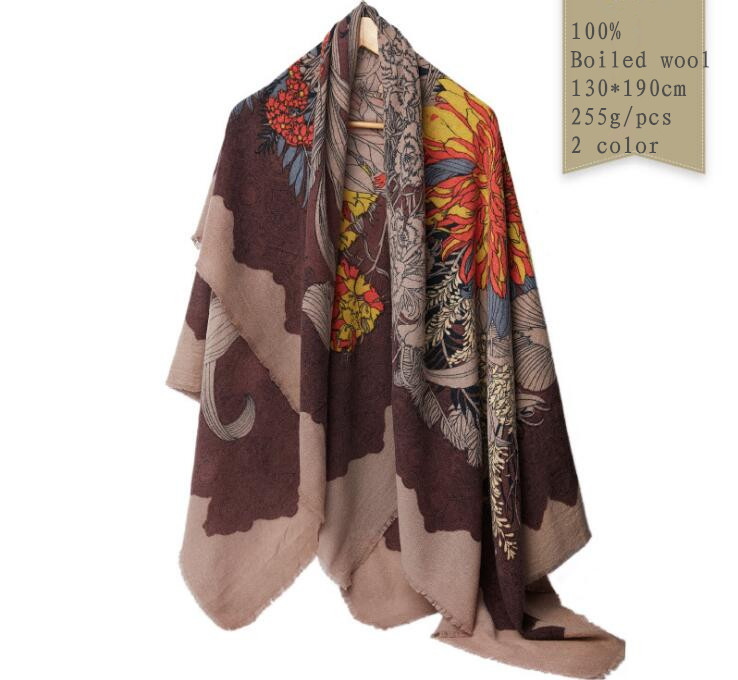 Naizaiga 100 boiled wool print 130 190cm big size shawl winter warm scarf fashion brand pashmina