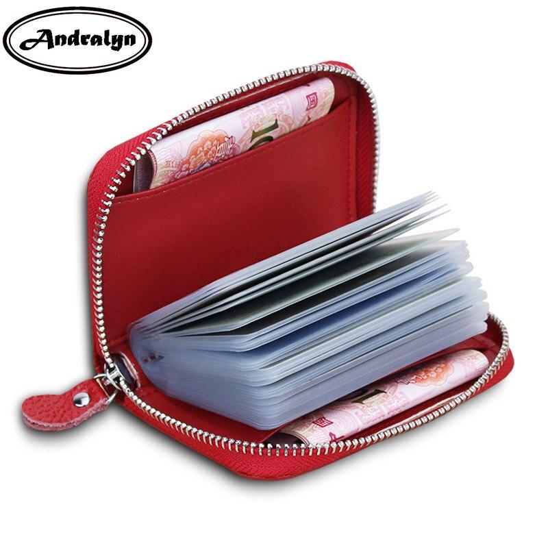 Andralyn 20 Slots Credit Card Holder Women Short Card Case Portable Business Card Pocket Bag Grid Pattern Men Credit Card Holder цены