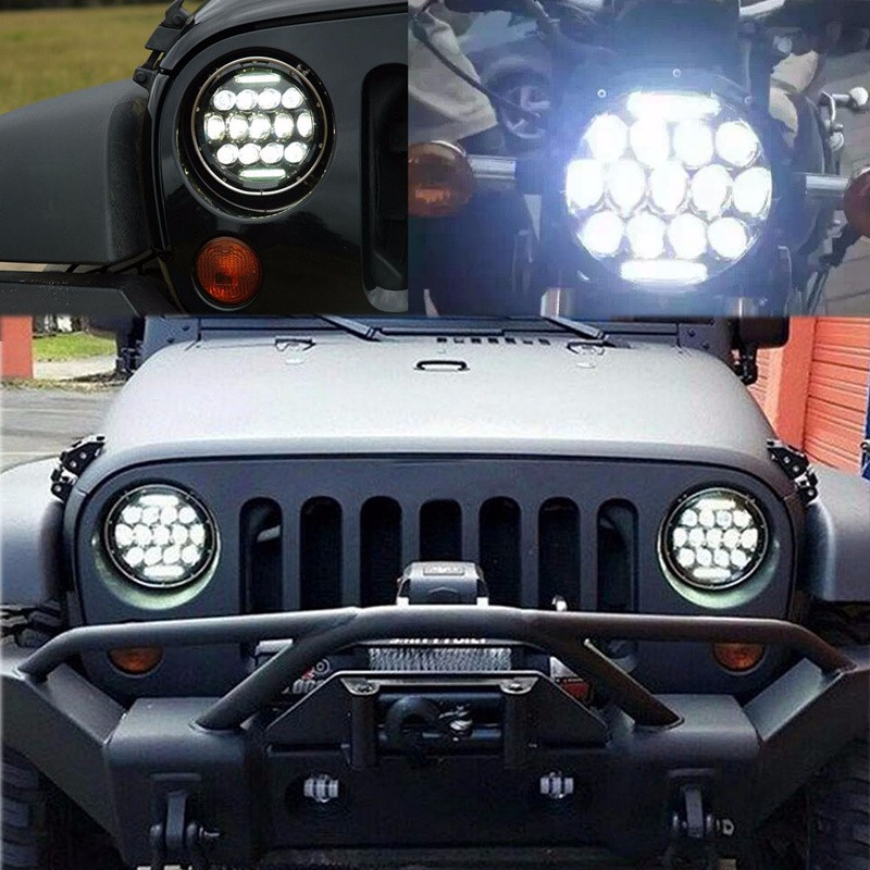 Pair 7 INCH 75W LED PHILIPS Headlight DRL for Jeep Wrangler JK LJ CJ dcd
