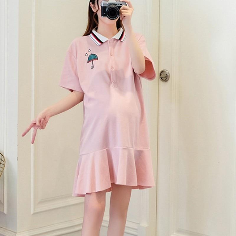 Летние Повседневное мультфильм вышивка для беременных платье с открытыми плечами большой размер контрастным воротником розовый с белым пл...
