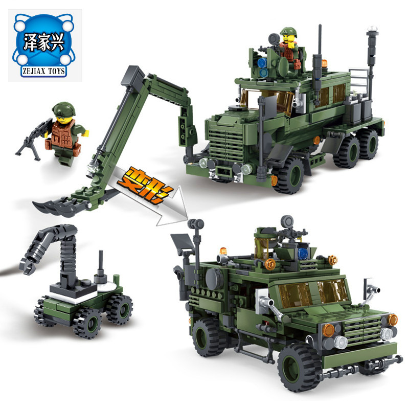 KAZI Building Blocks Field Army Series Deformation M-ATV Minesweeping Car Military Children Gifts Model Educational Lepins Toys 8 in 1 military ship building blocks toys for boys