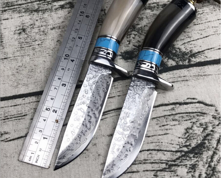 Sharp Ox horn handle Hunting Knife Handmade forged Damascus Steel camping knife 58-60HRC leather handle survival Tactical tool survival damascus steel hunting knives ox horn handle amry knife damascus steel outdoor camping tool