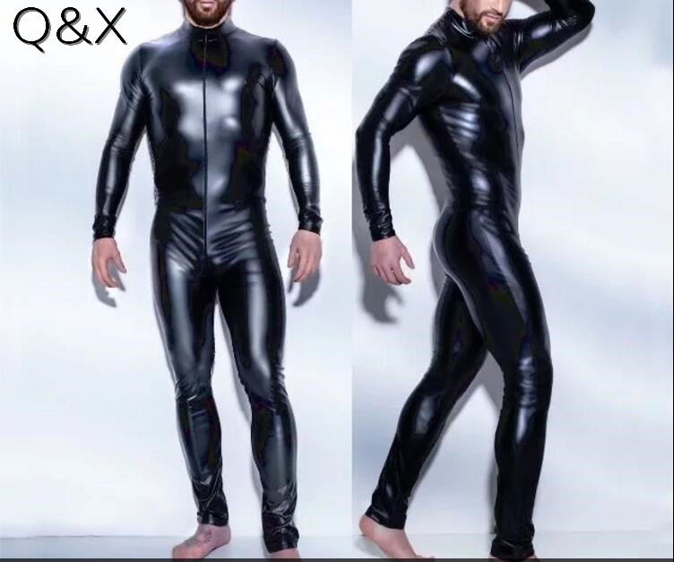 XX86 Sexy High Quality Men Latex Catsuit Faux Leather Front Zipper Crotch 2017 Bodysuit Fetish Costume