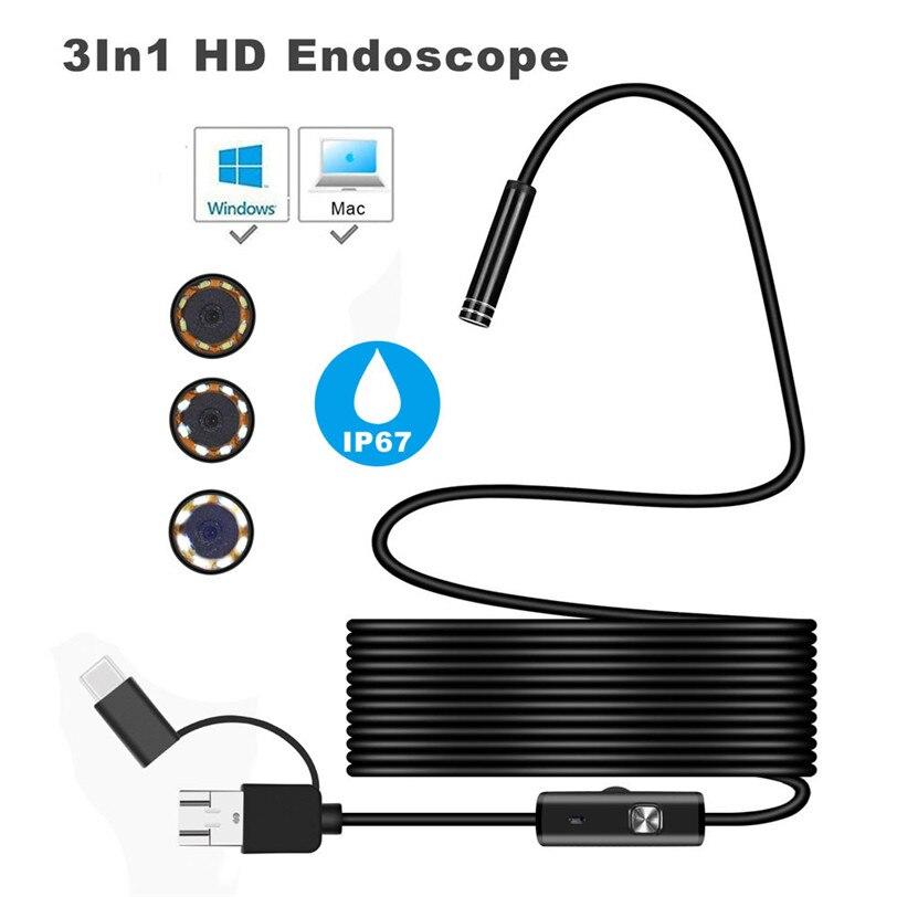 3in1 Android USB Typ-C Inspektion Endoskop 7mm Kamera 6 LED HD Wasserdicht Für smartphone 0J Drop Verschiffen