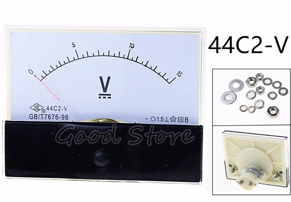 44C2 DC 1V 2V 3V 5V 10V 15V 20V 30V 50V 75V Voltmeter Analog Voltmeter Square DC Voltage Panel Meter