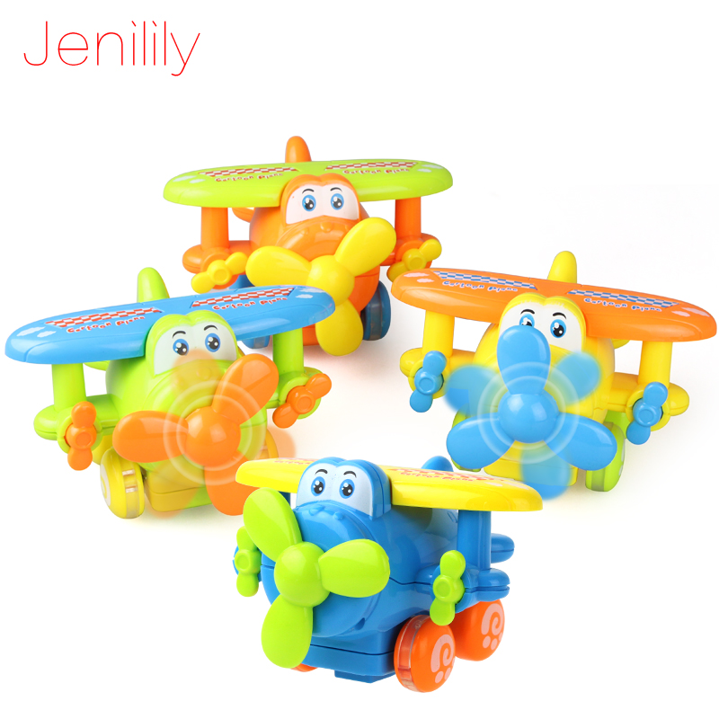 Jenilily 4 Colors Mini Cute Plane Educational Plastic Cartoon Plane Toy Inertia Car Kids Toys Best Gift for Children