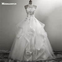 2018 Halter Ball Gown Ruffles Beaded Lace Appliques Wedding Dresses Custom Made White Ivory Wedding Gown