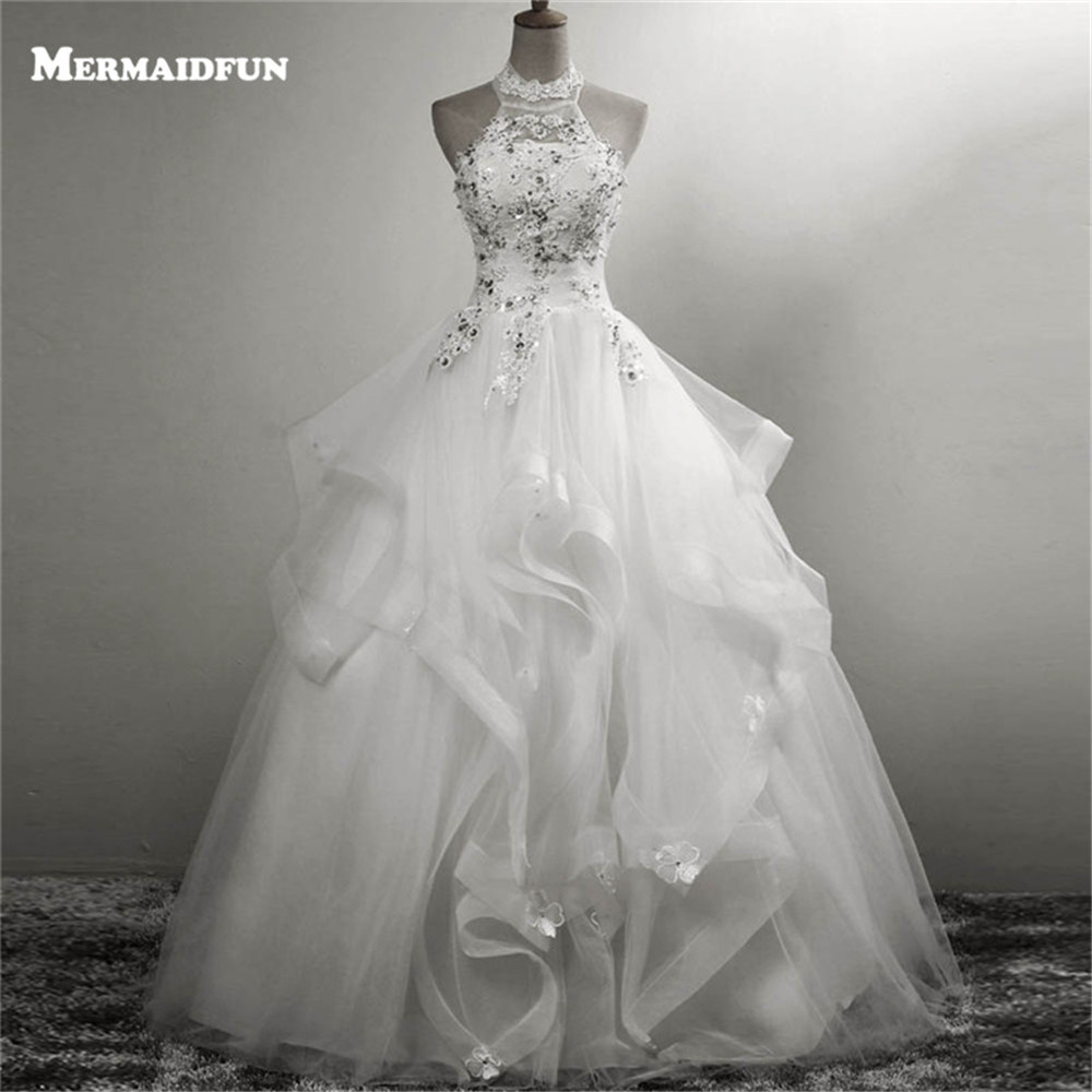 Lace Halter Wedding Gown: 2019 Halter Ball Gown Ruffles Beaded Lace Appliques