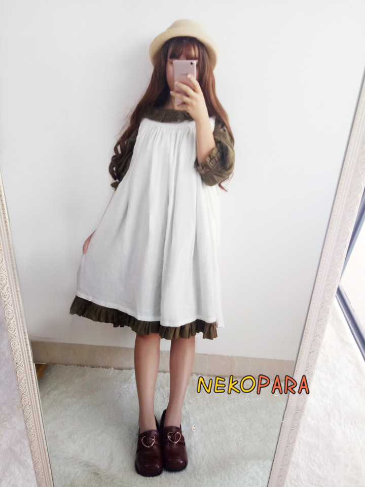Frauen Tiefgr Cinderella Sleeve M Niedlich Bubble Lolita Vintage Princess 4 Bubble Farben dchen Langes Mori Kleid TcFKJ3l1