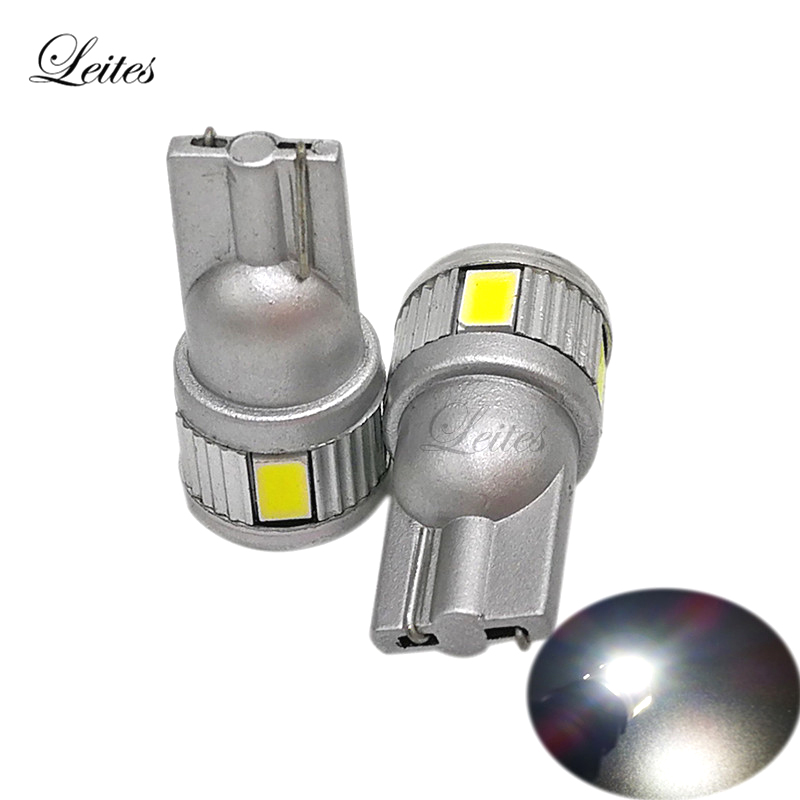 Leites 200PCS 2017 New Products Hot Sale T10 5630 6SMD Without Lens T10 W5W Smd Leds Clearance Light For All Cars 12v