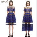 2017 New Arrival Brand Self Portrait Style Lace Crochet Patchwork Dress Women Long Dress Fashion Runway Blue Dress Vestido