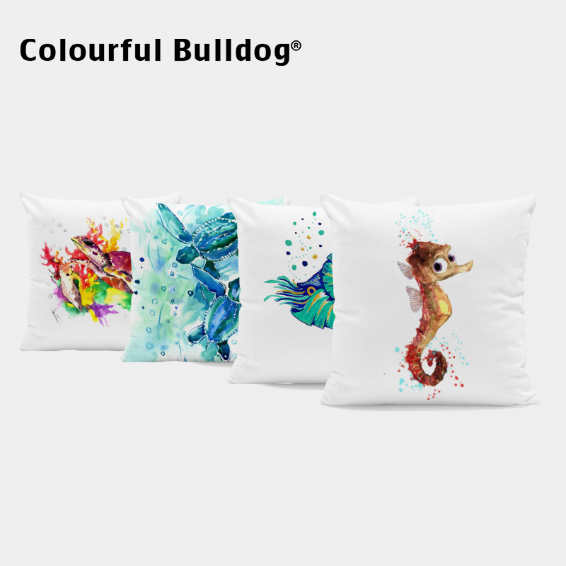 Watercolor Ocean Style Cushion Covers Crab Octopus Devil Fish Throw Pillows Sea Turtle Starfish Pillow Cases Decor Children Room