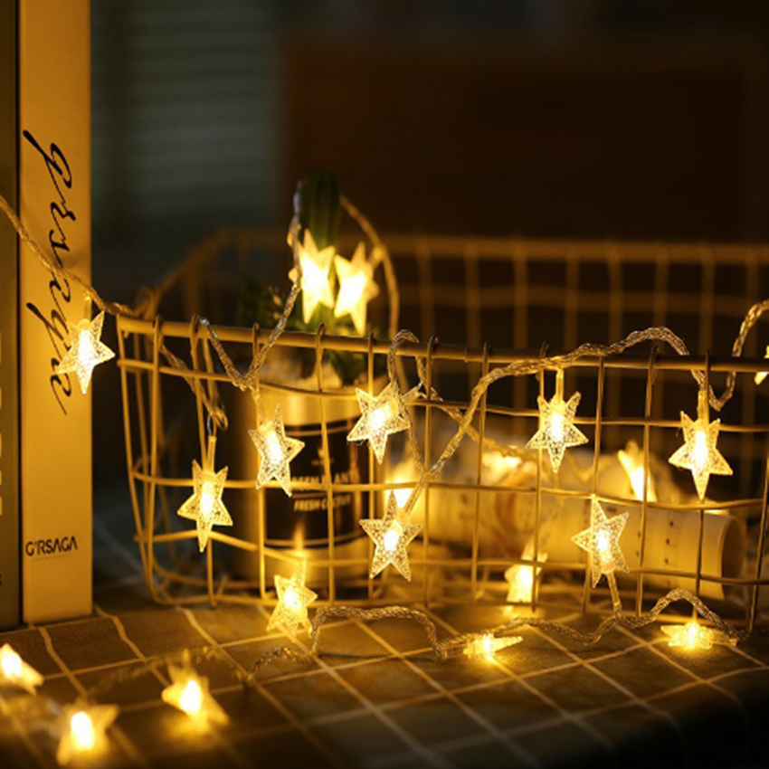 10/20/30/40 Leds Star Shaped LED Fairy String Lights Battery Operated Holiday Christmas Party Wedding Decoration Fairy Lights