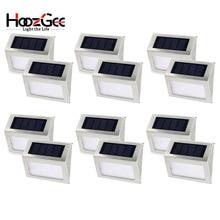 HoozGee солнечный светильник Открытый сад шаговые огни безопасности лестница настенный путь свет с 3 светодиодный бисер лестничная площадка водонепроницаемый