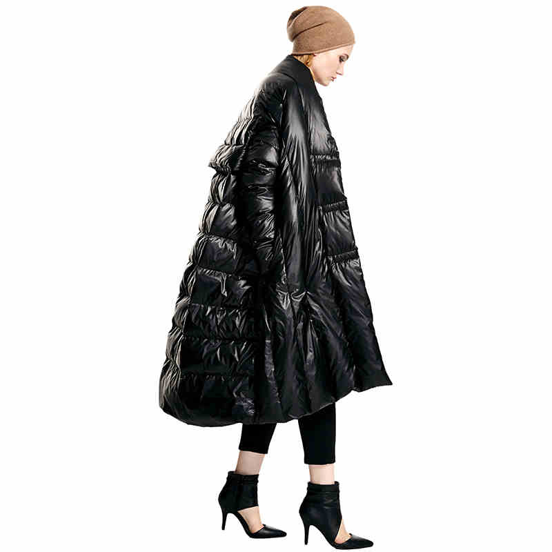 2015 new Hot winter Thicken Warm Woman Down jacket Coat Parkas Outerwear cloak black long plus size Luxury fashion Loose