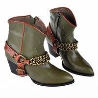 2018; chaussure femme; женская обувь с золотыми цепочками; ботильоны с острым носком; сапоги ковбойские сапоги для верховой езды; zapatos mujer