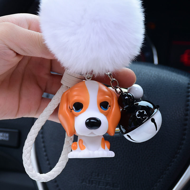 Cute Cartoon Rabbit Fur Ball Pom Pom Fluffy Key Chain Beagle Dogs Keychain Key Ring Car Women Charm Bag Purse Key Chians Pendant ...