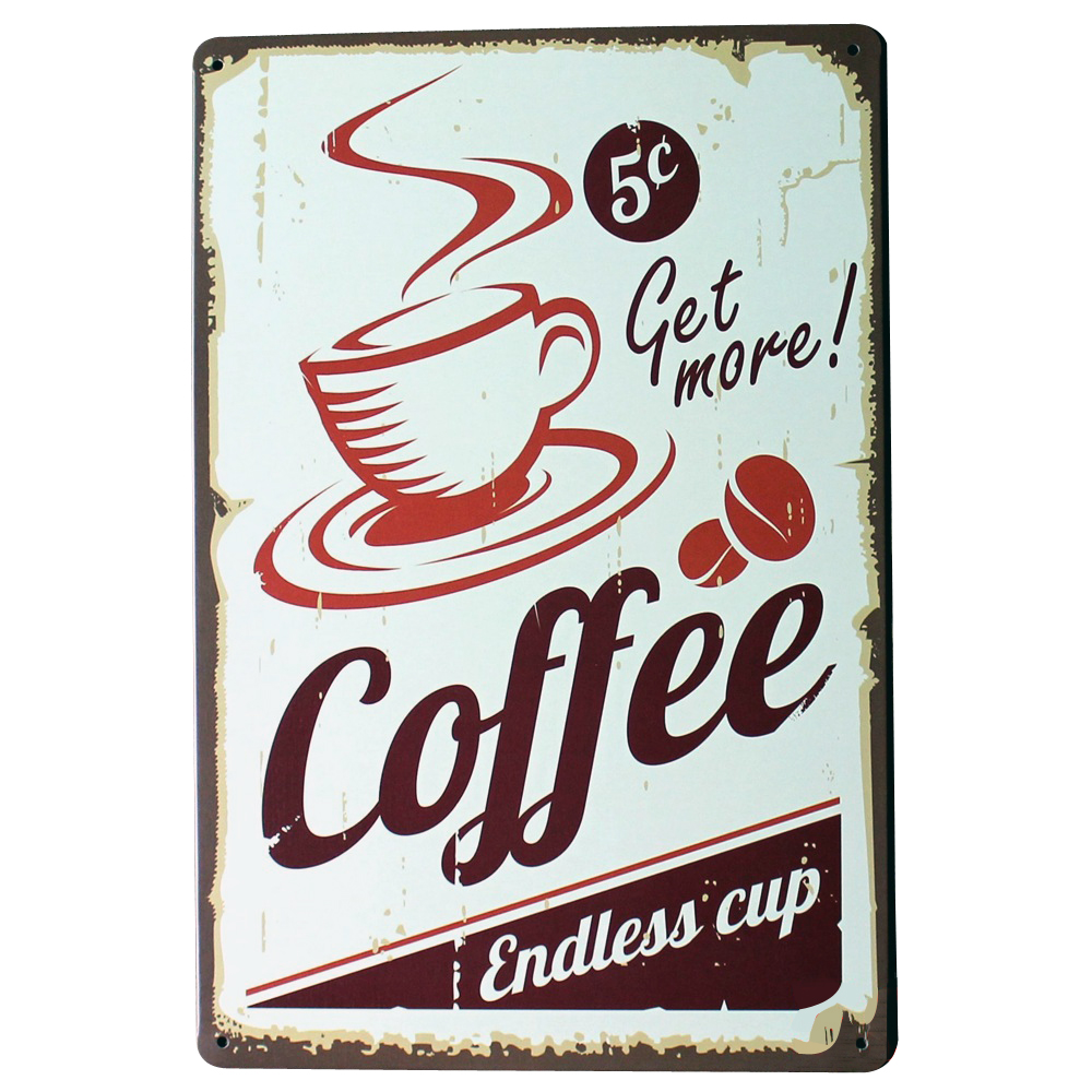 Retro kitchen wall art - Get More Coffee Metal Tin Sign Fashion Retro Decor Plaque For Shop Bar Kitchen Wall Art