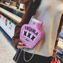 ashion Style Tequila bottle Purse Women's Pouch Messenger Bag Girl Shoulder Bag Wallet Pouch Party Bag Glitter Clutch Bag цена 2017