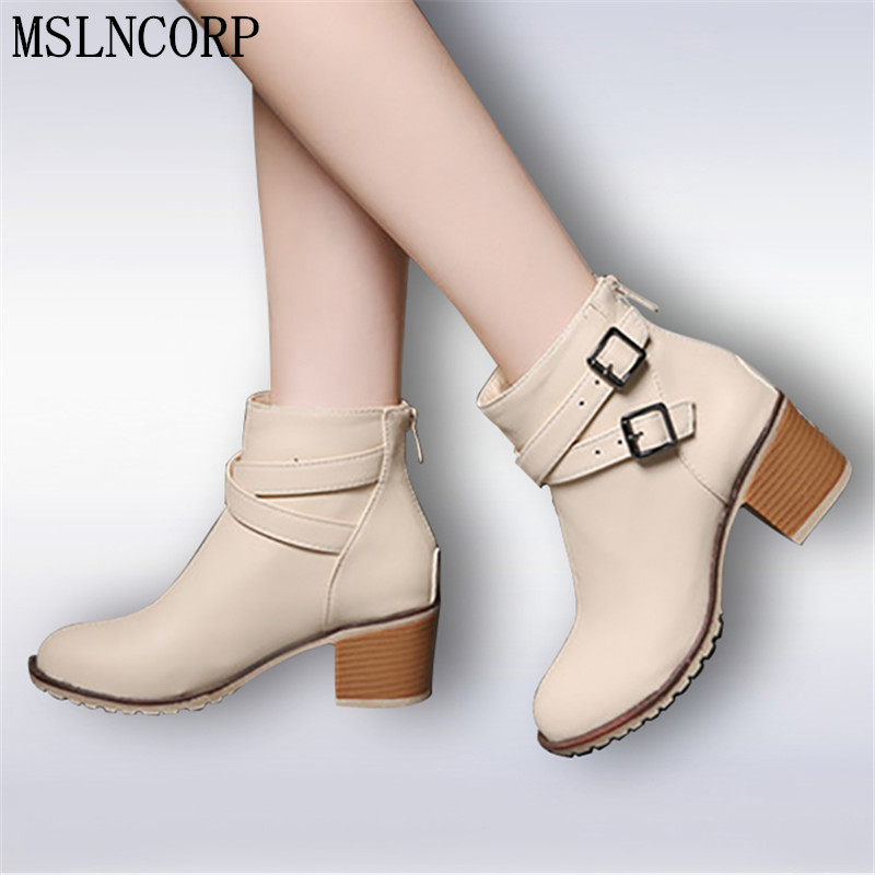 size 34-43 New Autumn and winter women Leather shoes vintage Europe star fashion Square high heels Ankle boots zipper Snow boots