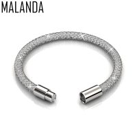 MALANDA Brand New Fashion Crystal From Swarovski Mesh Bracelets Bangles For Women Luxury Wedding Party Jewelry