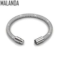 MALANDA Brand New Fashion Crystal From Swarovski Mesh Bracelets Bangles For Women Luxury Wedding Party Jewelry