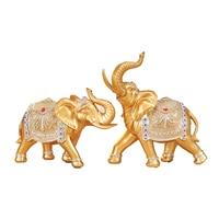 Золото Медь слон украшения Пара Лаки Фэн шуй Смола ремесла животных интерьера комнаты украшения открытие подарки