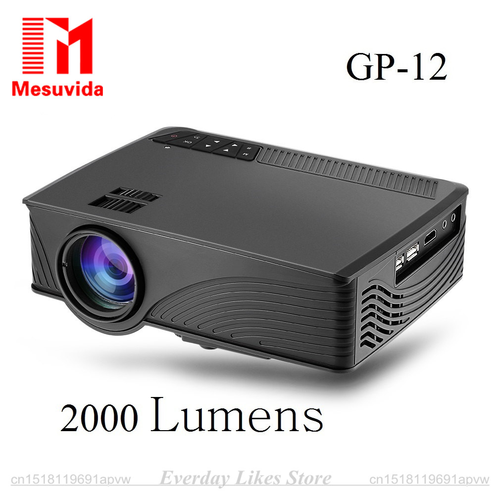GP 12 Mini Home Cinema Theater HD GP12 3D LED Lamp Protable Projector 2000 Lumens 800