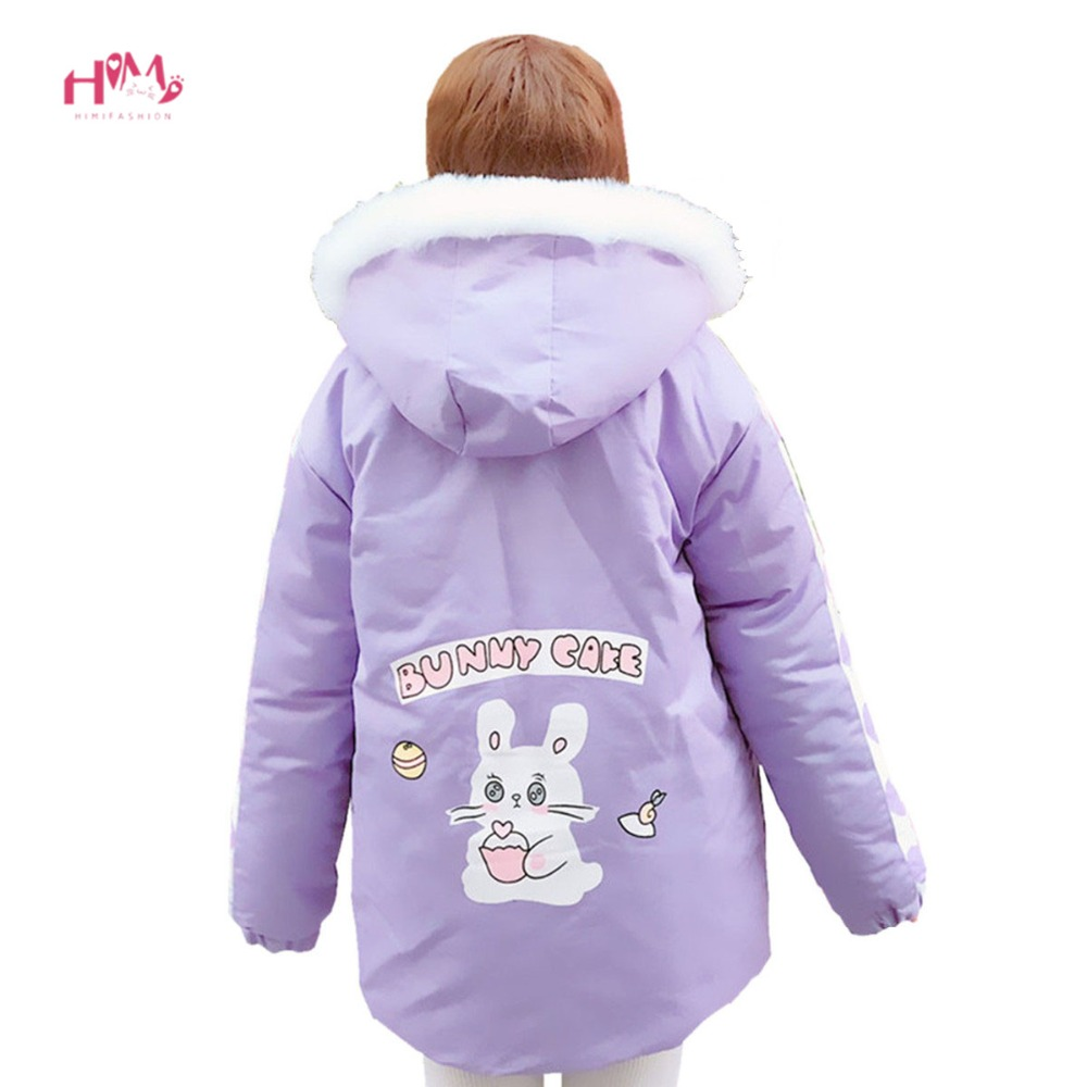 Winter Women Sweet Long Coat Fashion Outwear Warm Pink Bunny Rabbit Cute Loose Padded Cotton Jackets Kawaii Teen Girl Overcoats