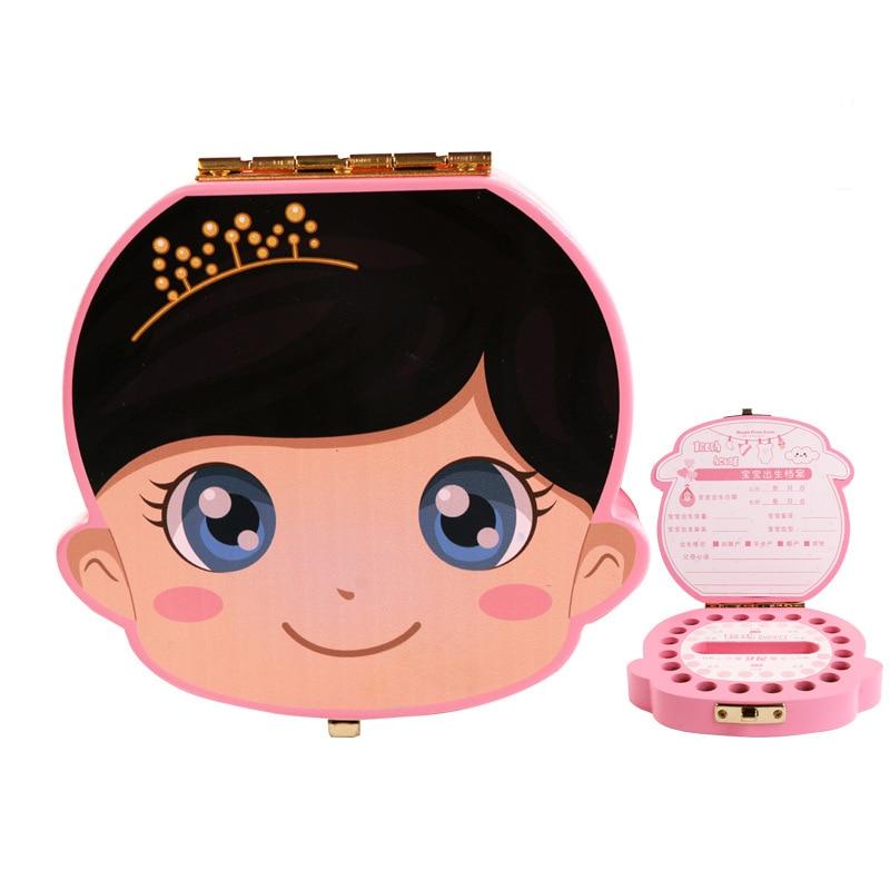Baby Wooden Tooth Box Spanish English Kids Organizer Storage Box Baby Baby Boy Girl Milk Teeth Lanugo Umbilical Collection Box