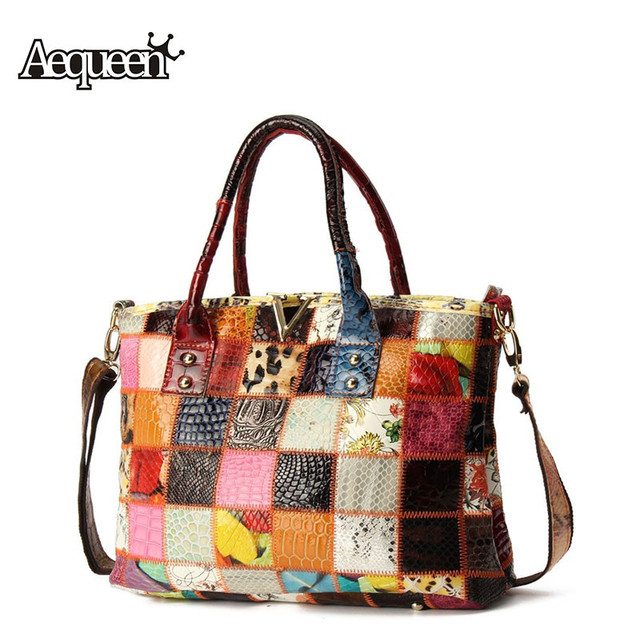 7565a04652a5 AEQUEEN Women Genuine Leather Handbags Ladies Patchwork Crossbody Bags  Ladies Sheepskin Casual Totes Shoulder Bags Random
