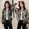 Summer Thin bomber Camouflage Coat 2016 Spring Women Bat Sleeve Jacket Casual Slim Short O Neck Outerwear New Fashion