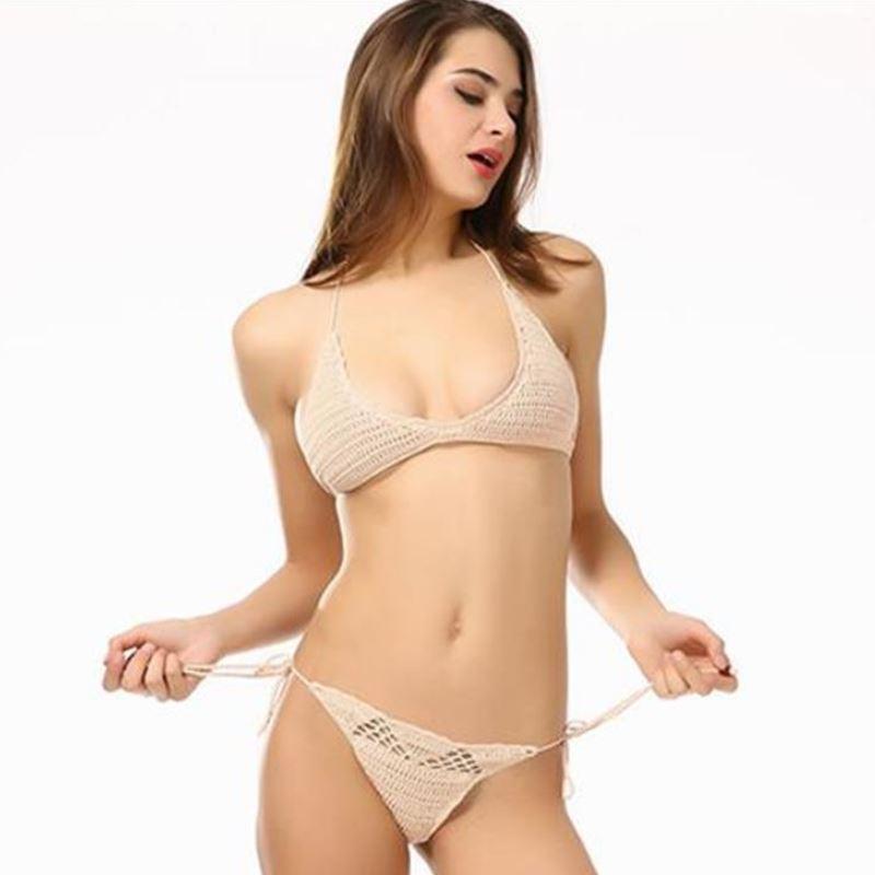 df02b8a7b0 Crochet Halter String Micro Bikini Set Swimwear Women Swimsuit 2019 Sexy Swim  Bathing Suit Beach Bather