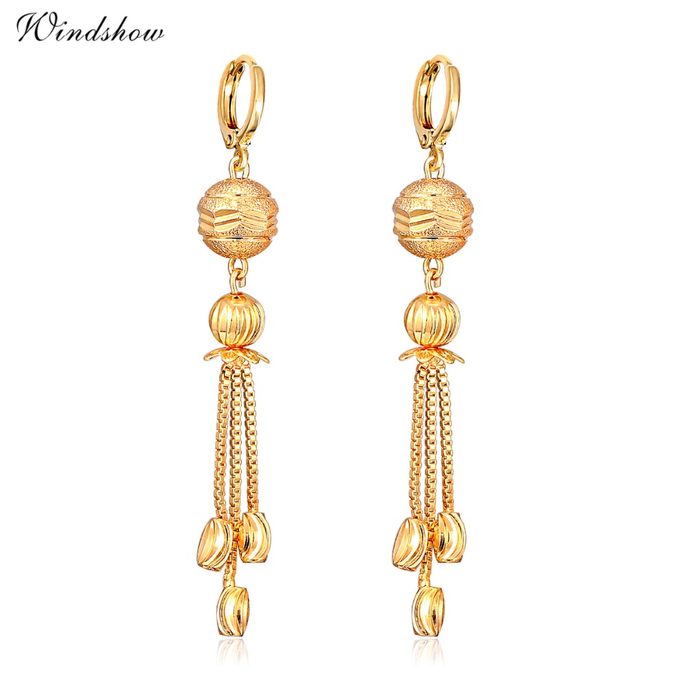 Exotic Bohemian Yellow Gold Plated Scrub Ball Chain Tel Bead Long Drop Dangle Hanging Earrings For Women Jewelry Bijoux In From