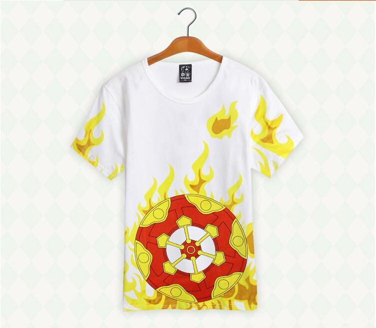 Mens New Summer Tees Jp Anime  Rin-ne Cartoon Tees  Short Sleeve Flame Printings  White T-Shirt Girls Casual Syle Tees Wholesale