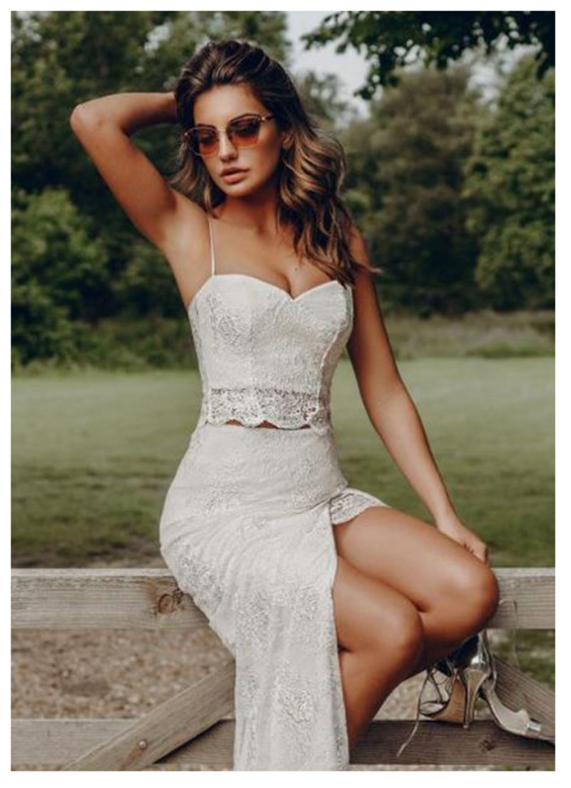 LORIE Beach Wedding Dress 2019 2 Pieces Spaghetti Straps Lace Tulle Side Split Princess Wedding Gown Tulle  Bridal Dress