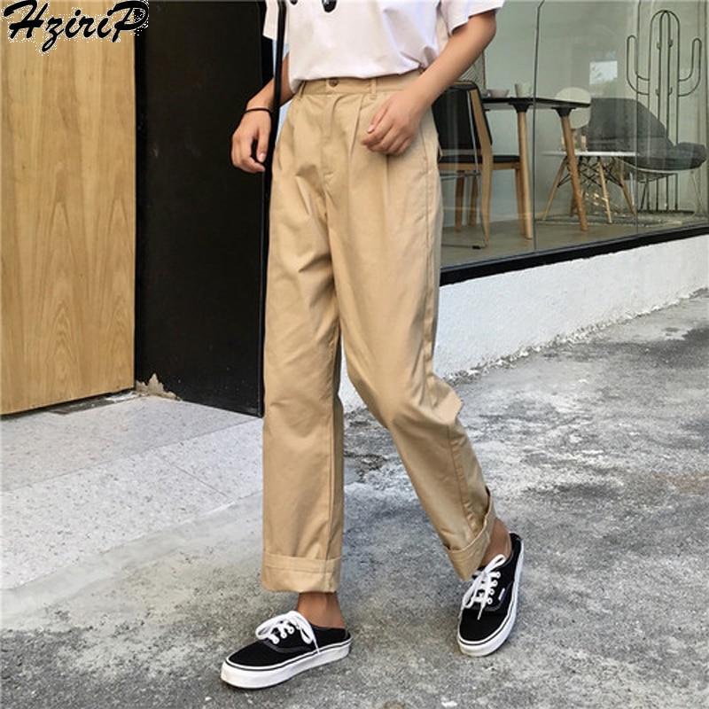HziriP 2018 New Hot Sale Straight Wide Leg Pants Long-Length Pants High-waist Women Young Girl  Fashion Female Casual Pants