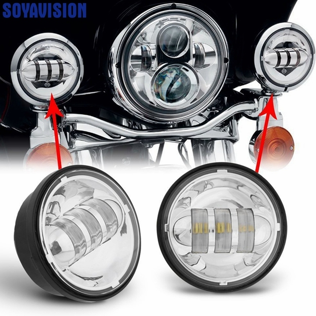 "2 Pcs 4.5 INCH Motorcycle Led Fog Lamp 4-1/2"" 30W Chrome LED Auxiliary Fog Passing Light for Harley Motorcycle Led Lights"
